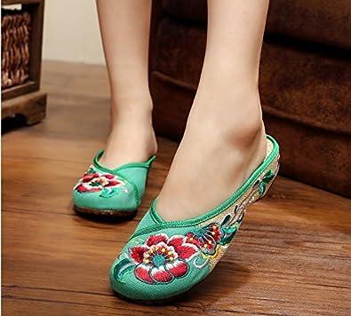 KAFEI Frauen bestickte Schuhe Hausschuhe tuch Freizeitaktivitäten Vieh Sehne am Ende der Schuhe Baotou flach und mit der täglichen, 38, Rot