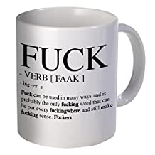 Best funny gift - 11OZ Coffee Mug - The F word and verb definition - Perfect for birthday, men, women, present for him, her, sister, brother, wife, husband or friend.Best Funny Inspirational and Sarcasm Grammar Expletive Theme Coffee Mug or Tea Cup,Ceramic Material Mugs,White