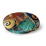 KESS InHouse Mandie Manzano Sea Dance Blue Orange Round Floor Pillow