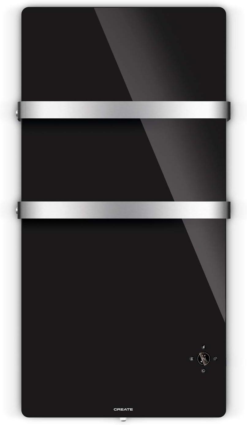 CREATE IKOHS Warm Towel Cristal - Toallero Electrico de Cristal con WiFi, 600W, Mando a Distancia, Doble Colgador, Pantalla LED, Temporizador Semanal y 24h, Conectividad App, Protección IP34 (Negro)