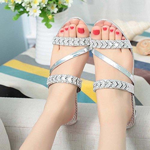 Zapatillas Piedras Plata Zapatos Oro Mujer Sandalias Moda Strass qxwdz6cU