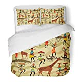 Emvency Decor Duvet Cover Set Full/Queen Size Dance with African Women Girl Silhouette Traditional Abstract Africa Ancient Animal 3 Piece Brushed Microfiber Fabric Print Bedding Set Cover