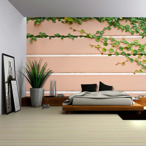 Green Vines Growing from Inside the Cracks of a Brick Wall Wall Mural Removable Wallpaper