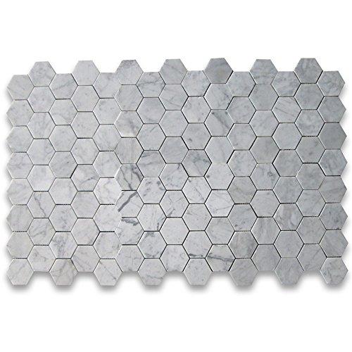 Carrara White Carrera Marble Hexagon Mosaic Tile 3 Inch
