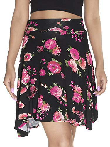 Ice Mini Skirts (River Island Pull-On, Floral Print Skater Mini Skirt, Black/Neon Pink, Size XL)