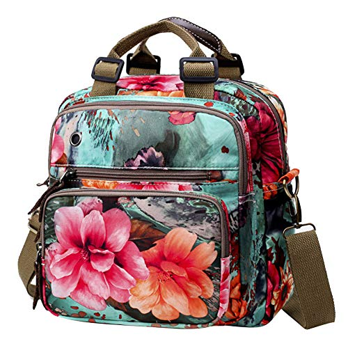 Exttlliy Mini Fashion Mummy Baby Diaper Bag Backpack,Floral Colorful Multi-Function Travel Bag Pack Nappy Bag Crossbody Bag (Green) ()