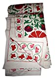Tribal Asian Textiles Suzani Hand Embroidered Quilt Twin Bedding Blanket Bohemian Throw Handmade