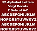 Games&Tech Alphabet A-Z Lettering Vinyl Decals Sticker 2 Sets of 26 A-Z Letters 52 Letters - 0.5 inch letter size - White Color