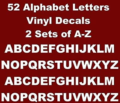 Games&Tech Alphabet A-Z Lettering Vinyl Decals Sticker 2 Sets of 26 A-Z Letters 52 Letters - 0.5 inch letter size - White Color
