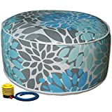 Kozyard Inflatable Stool Ottoman Used for Indoor or Outdoor, Kids or Adults, Camping or Home (Blue Pattern)