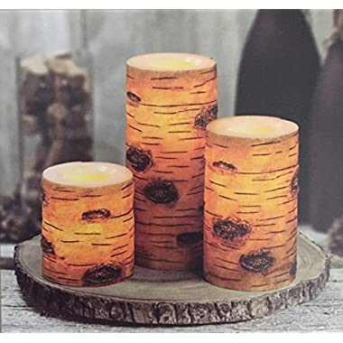 3 Flameless LED WAX Candles, Brown