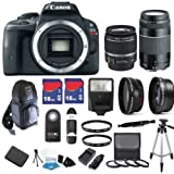 Canon EOS Rebel SL1 18 MP CMOS Digital SLR Full HD 1080 Video Body with EF-S 18-55mm IS STM Lens & EF 75-300mm III Lens with 32GB Deluxe Accessory Bundle