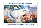 Hawaii by Flying Clipper - Pan American Airways System (PAA) - Honolulu Clipper Boeing 314 .- Vintage World Travel Poster by Paul George Lawler c.1940s - Hawaiian Master Art Print - 13 x 19in