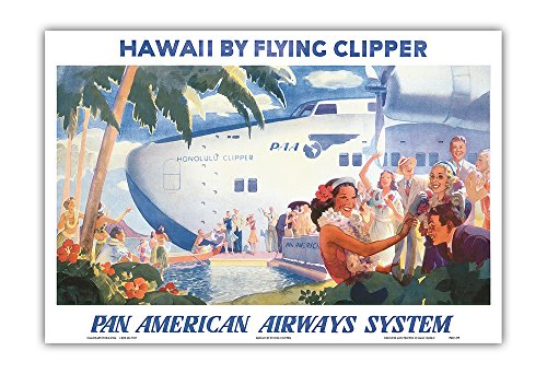 Pan American Airways (Hawaii by Flying Clipper - Pan American Airways System (PAA) - Honolulu Clipper Boeing 314 .- Vintage World Travel Poster by Paul George Lawler c.1940s - Hawaiian Master Art Print - 13 x 19in)