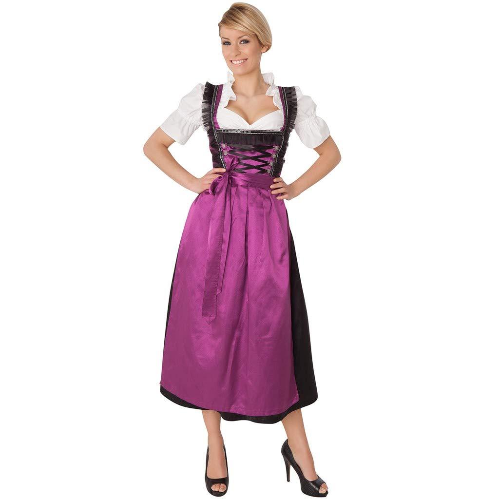 Mikilon Women's German Dirndl Maid Maxi Dress Costumes for Bavarian Oktoberfest Carnival Halloween Purple