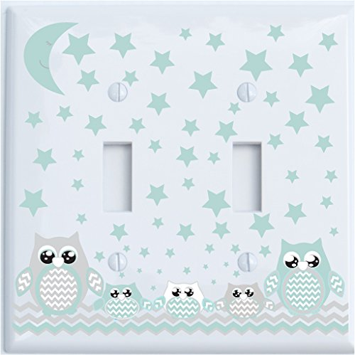 (Double Toggle Grey and Seafoam Green Owl Light Switch Plate Covers/Owl Nursery Decor (Double Toggle)
