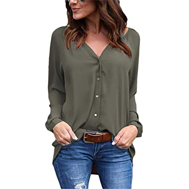 b562af2410 Amazon.com  Women Chiffon Blouse Long Sleeve Shirt Women Tops Office ...