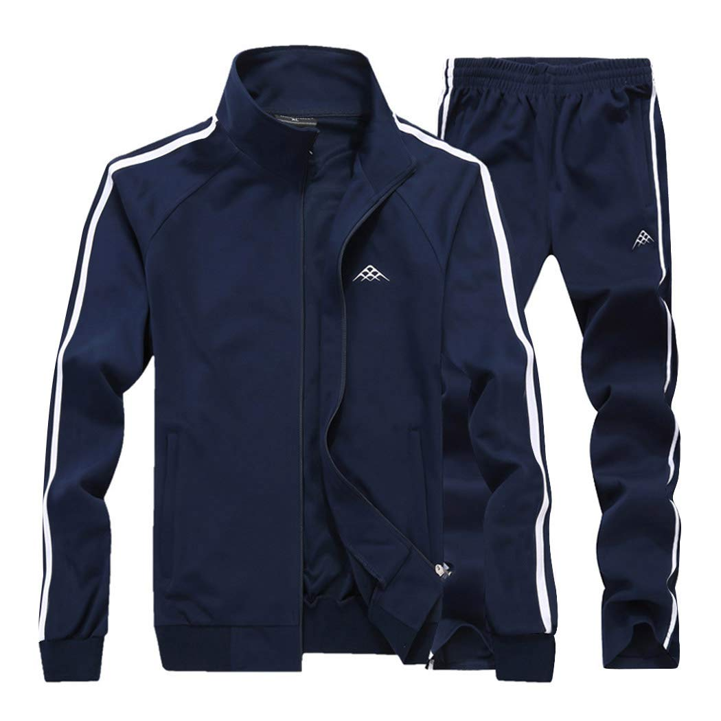 Real Spark Men's Athletic Full-Zip Jogger Sweat Suit Sports Sets Casual Tracksuit Navyblue XXXL