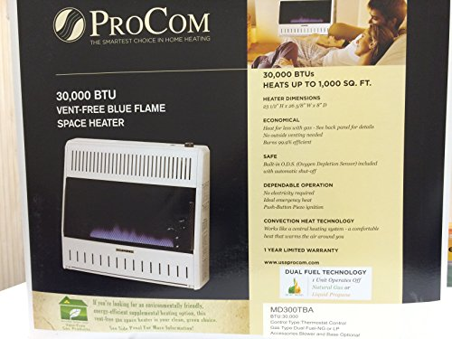PROCOM Blue Flame Vent Free Wall Heater - 30,000 BTU Output, 1000 Sq. Ft. Heating Capacity