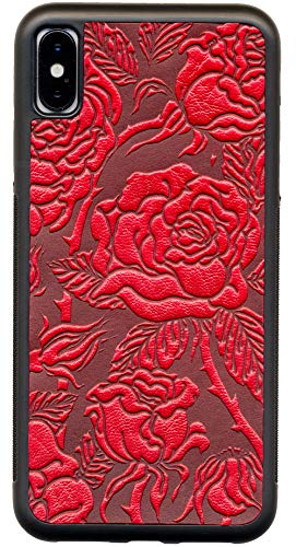 - Leather iPhone Case for iPhone X & XS: Rugged, Flexible TPU iPhone Holder with Embossed Top Grain Cowhide Leather, Handcrafted in USA, Wild Rose by Oberon Design (X-XS)