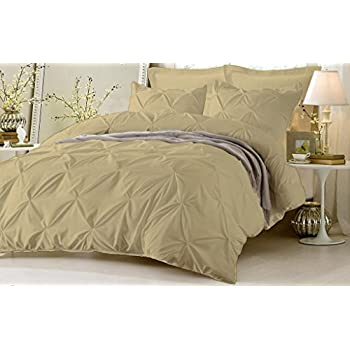 Image of Amuze Bedding Stylish Pinch Pleated 3 PCs Duvet Cover and Pillow Shams Decorative Set (Taupe, King/Cal King) Luxurious 100% Egyptian Cotton 400 Thread Count Home and Kitchen