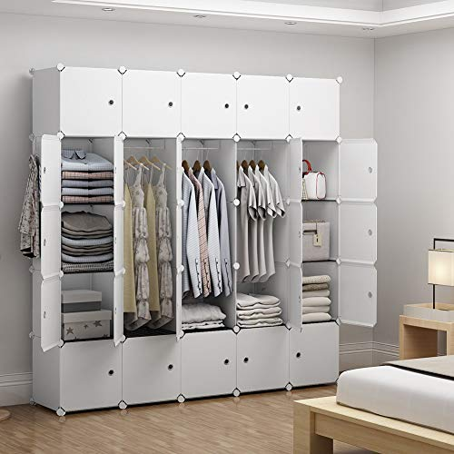 GEORGE&DANIS Portable Closet Organization for Kids Teenagers Plastic Wardrobe Modular Cube Storage Shelf Bookshelf Toy Organizer Cabinet Dresser, White, 14 inches Depth, 5x5 Tiers from GEORGE&DANIS
