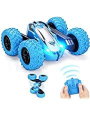 RC Cars Stunt Car Toy, VASLON 4WD 2.4Ghz Remote Control Car Double Sided Rotating Vehicles 360° Flips, Rotating Rotation, LED Headlights RC 4WD High Speed Off Road,Kids Toy Cars for Boys & Girls (No Battery)