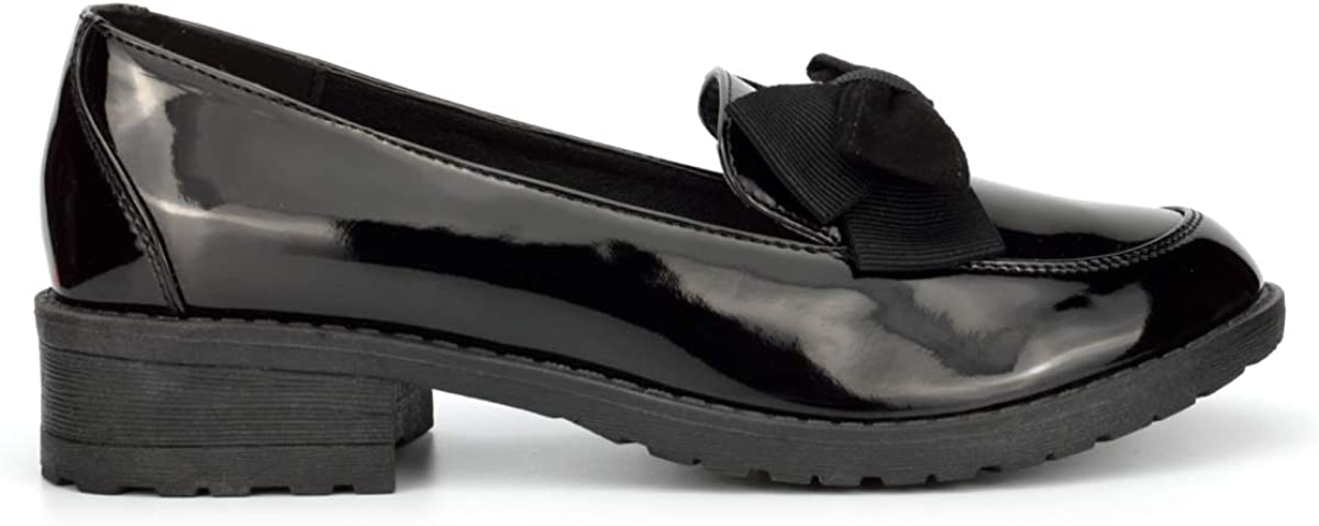 Wild Tribe Girls Patent Loafers with Bow Detail with Low Heel Black