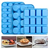 Silicone Muffin Pan Brownie Molds - Bakeware Set Cupcake Tray Baking Mold Set of 3