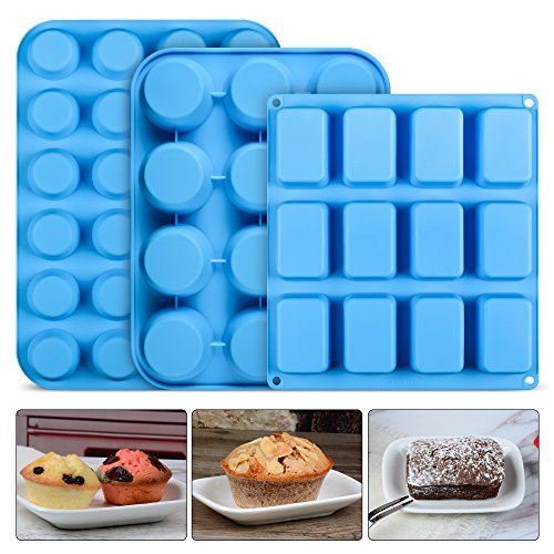 Silicone Muffin Pan Brownie Molds - Bakeware Set Cupcake Tray Baking Mold Set of ()