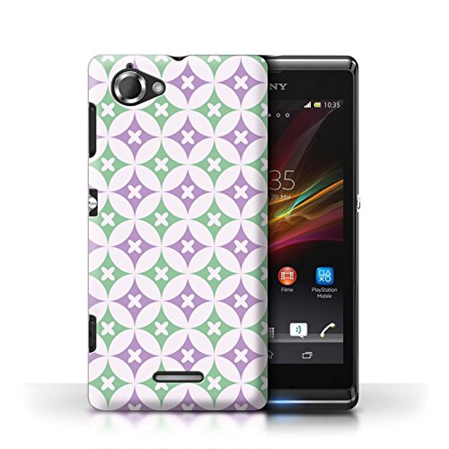 Etui / Coque pour Sony Xperia L/C2105 / Violet / Vert conception / Collection de Kaléidoscope