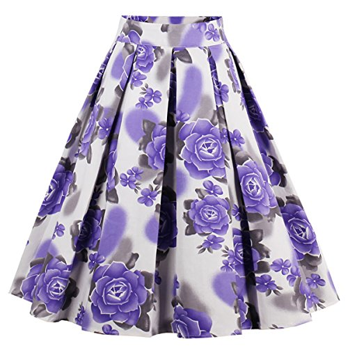 Dressever Women's Vintage A-line Printed Pleated Flared Midi Skirts Purple Flower XX-Large -