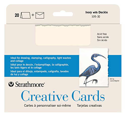 Strathmore STR-105-30 Ivory Deckle Card (20 Pack) (Edge Invitation Deckle)