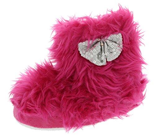 Chatties Toddler Girls Rock Star Furry Slipper Boots (Medium 7/8, Hot Pink)