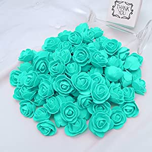 KODORIA 100pcs Artificial Foam Rose Head Artificial Rose Flower for DIY Bouquets Wedding Party Home Decoration - Tiffany Blue 6