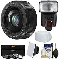 Panasonic Lumix G Vario 20mm f/1.7 II ASPH Lens (Black) with 3 Filters + Flash & 2 Diffusers + Kit for G7, GF7, GH3, GH4, GM1, GM5, GX7, GX8 Camera