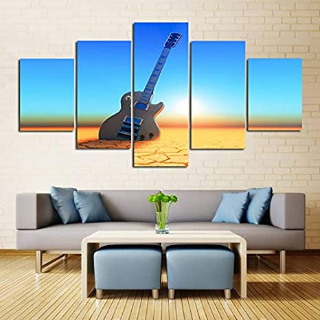 mmwin Wall Art Home HD Impreso Salón 5 Unidades/PC Guitarra ...