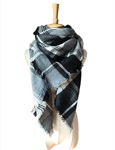 Women's Soft Warm Plaid Chunky Scarf Fall Winter Large Checked Blanket Scarves Wrap Shaw by LEO BON