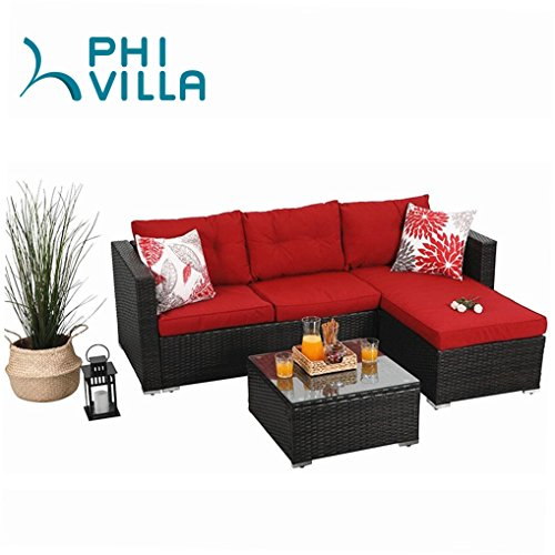 PHI VILLA 3-Piece Outdoor Rattan Sectional Sofa- Patio Wicker Furniture Set, (Set Wicker Sofa)