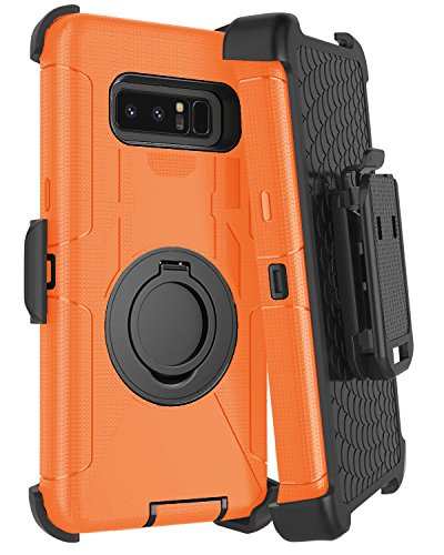 Samsung Note 8 Case, Galaxy Note 8 Case Belt Clip, Jwest Heavy Duty Shockproof Kickstand Full Body Rugged Bumper Hybrid Holster Protective Case for Samsung Galaxy Note 8 Orange