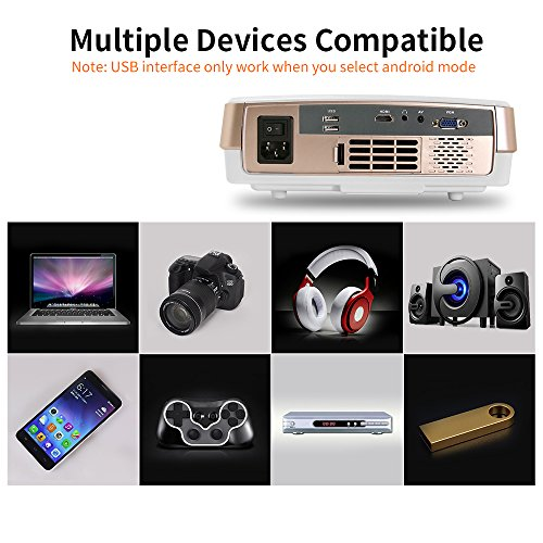 Portable lcd android wireless mini projector 2600 lumens for Mini portable projector for ipad