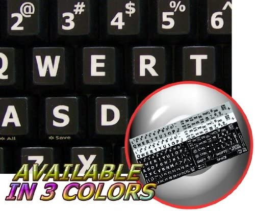 Upper CASE 4Keyboard English US Large Lettering Stickers for Keyboard Laptop and Notebook Black Background for Desktop