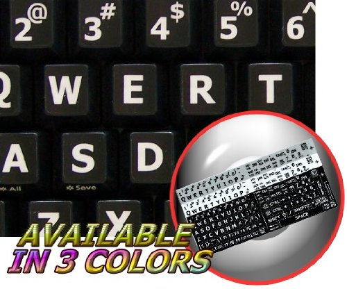ENGLISH US LARGE LETTERING STICKER FOR KEYBOARD (UPPER CASE) BLACK BACKGROUND FOR DESKTOP, LAPTOP AND NOTEBOOK