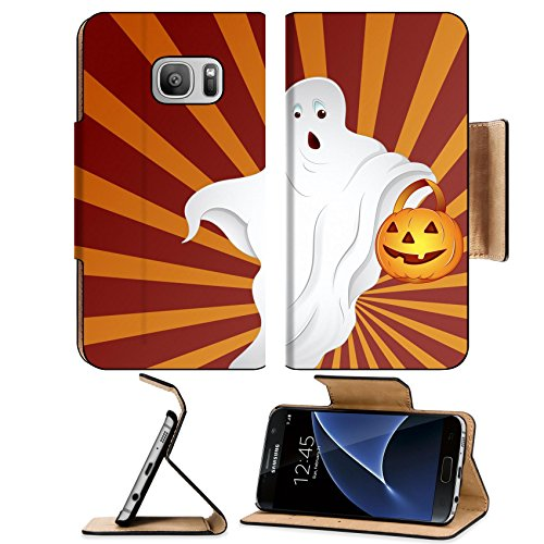 Liili Premium Samsung Galaxy S7 Flip Pu Leather Wallet Case IMAGE ID: 16104681 Halloween Ghost (Bucket And Spade Costume)