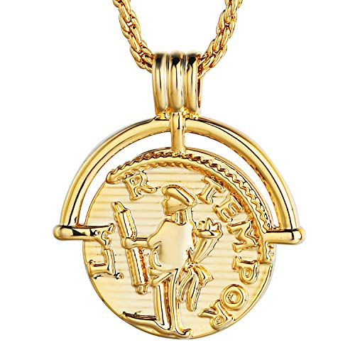 gorcy Coin Necklace for Women 18K Real Gold Plated Dainty Jewelry Athena Compass Pendant Necklace