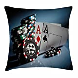Ambesonne Poker Tournament Decorations Throw Pillow Cushion Cover, Gambling Chips and Pair Cards Aces Casino Wager Games Hazard, Decorative Square Accent Pillow Case, 16 X 16 Inches, Multicolor