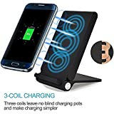 3 Coil Qi Fast Wireless Charger, Foldable Inductive Phone Charger Station Powermat for Samsung Galaxy S7 / S7 Edge / S6 / S6 Edge / Note 5, Nokia Lumia, Google Nexus, LG and all Qi-enabled Devices, Black
