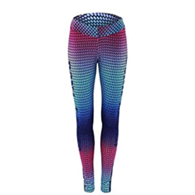 81958df79b1a3 WM & MW Colorful Athletic Leggings, Women Ombre 3D Print Workout Yoga  Fitness Elastic Pants
