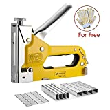 Staple Gun,Upholstery Stapler with Staples 3-In-1 Heavy Duty Hand Operated Brad Nail Gun Power Brad Nailer For Crafts, Wooden, Furniture,Decoration, Fxing - BONUS 400 Staples, Free Glove - Yellow