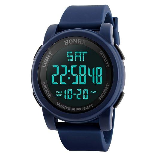 Yivise Hombres Reloj de Pulsera Deportivos Multifunción de Lujo Analógico Digital Militar LED Dial Redondo Impermeable